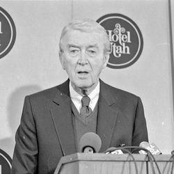 Jimmy Stewart, at the Hotel Utah Feb. 24, 1984. Deseret News Archive
