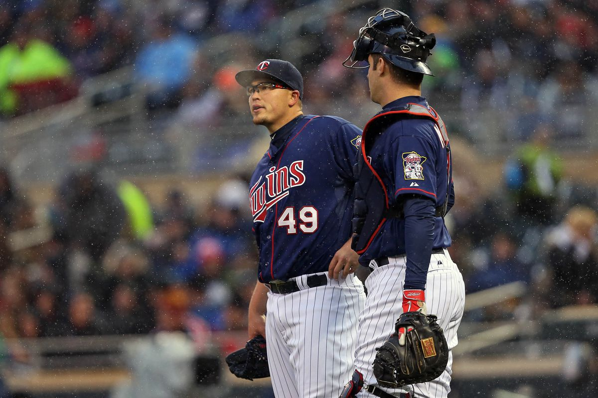 Vance Worley and Joe Mauer were searching for answers in his last start.