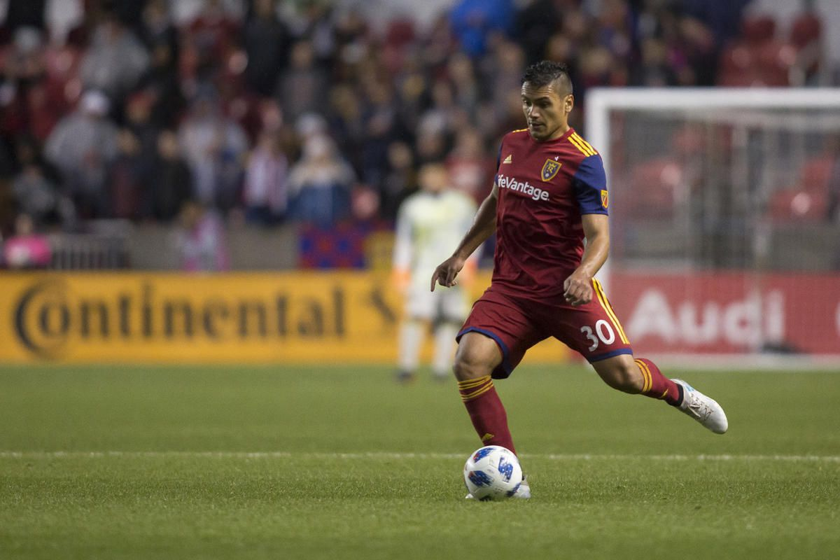 Real Salt Lake defender Marcelo Silva (30) kicks the ball during Real Salt Lake's matchup against the Vancouver Whitecaps on Saturday, April 7, 2018, at Rio Tinto Stadium in Sandy.