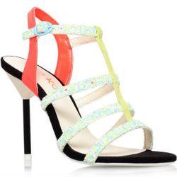 "<b>Miss KG</b> Elvie, <a href=""http://www.kurtgeiger.us/women/shoes/sandals/high-heels/elvie-multi-coloured-synthetic-40-miss-kg-shoe.html"">$115</a>"