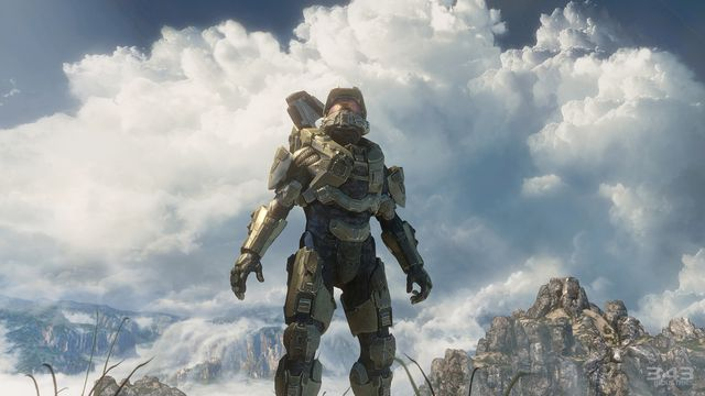 Master Chief looking at the sky in Halo 4
