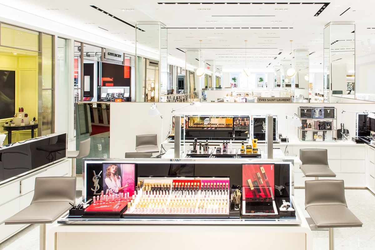 Makeup testers at the new Saks beauty floor.