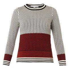 "DVF microstitch wool sweater, <a href=""http://www.dvf.com/microstitch-wool-sweater/S867301G14.html?dwvar_S867301G14_size=P&dwvar_S867301G14_color=MSBI"">$208.60</a>"