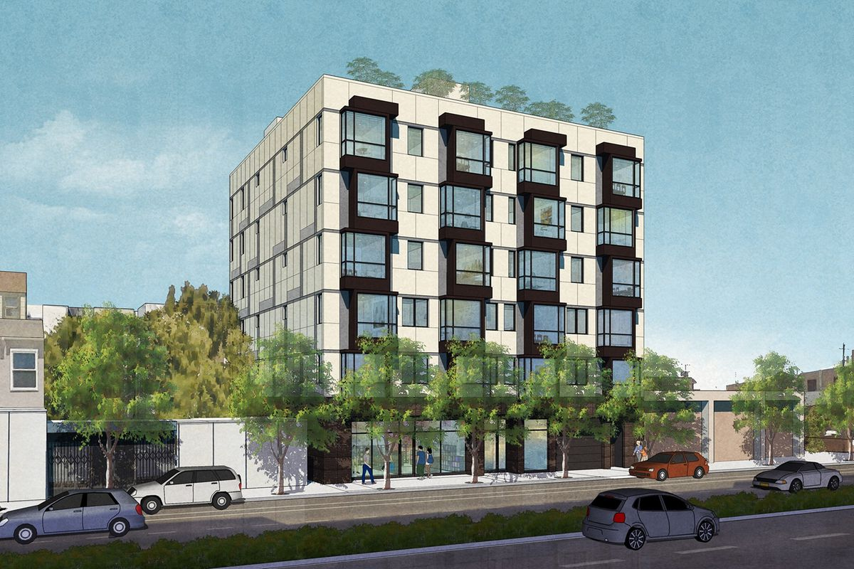 A rendering of a black and white condo building in the Mission.