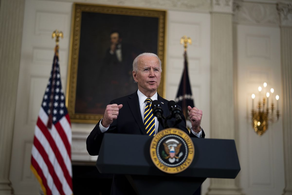 President Joe Biden at a White House event to sign an executive order on the economy on February 24, 2021.