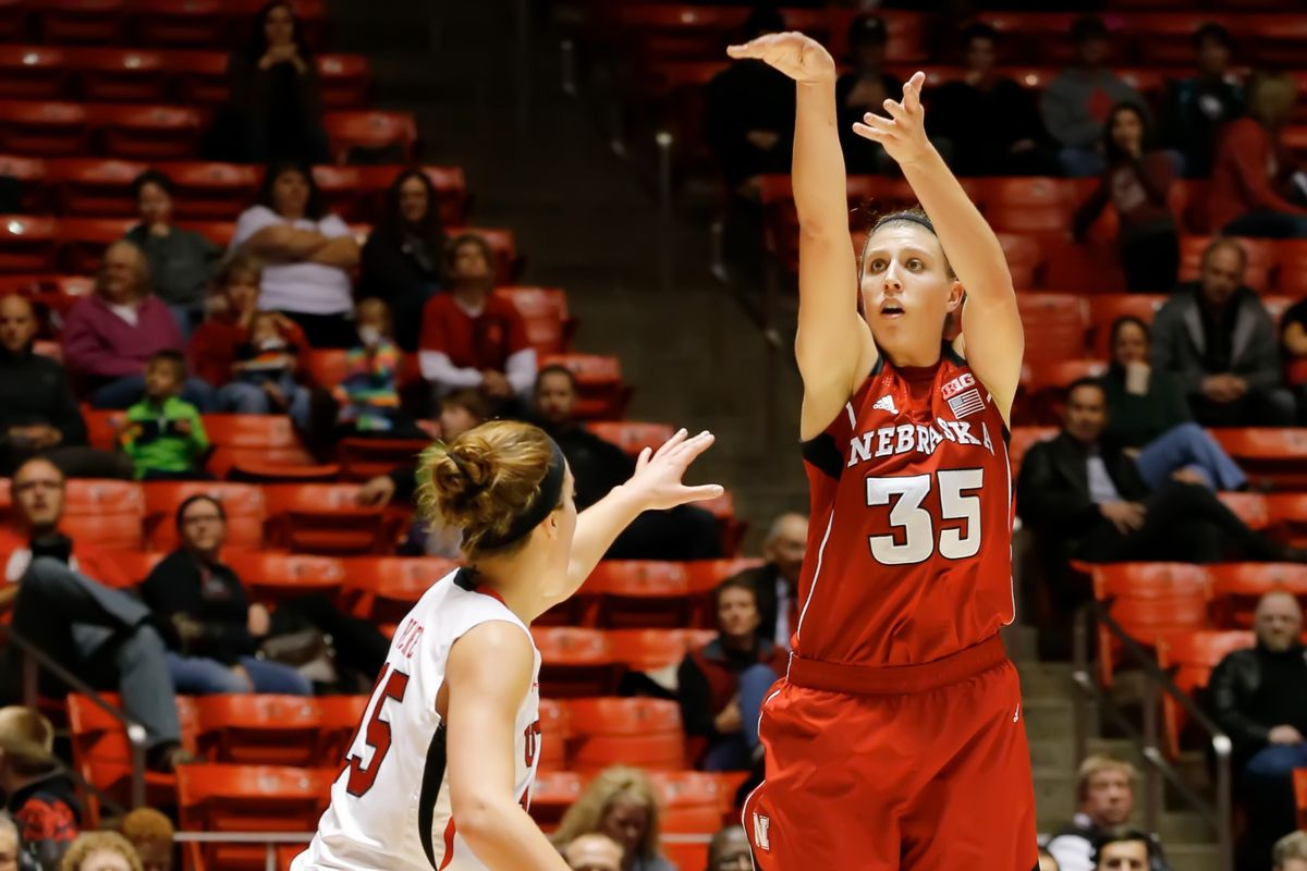 Nebraska's all-time three point leader, Jordan Hooper, will try to earn her team an edge in the Big Ten title race in today's game against Penn State.