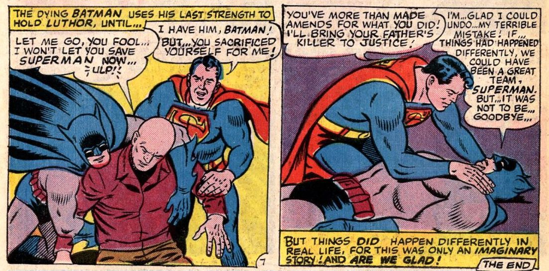 A wounded Batman subdues Lex Luthor and apologizes for thinking Superman murdered his father before he expires, in World's Finest #153, DC Comics (1965).