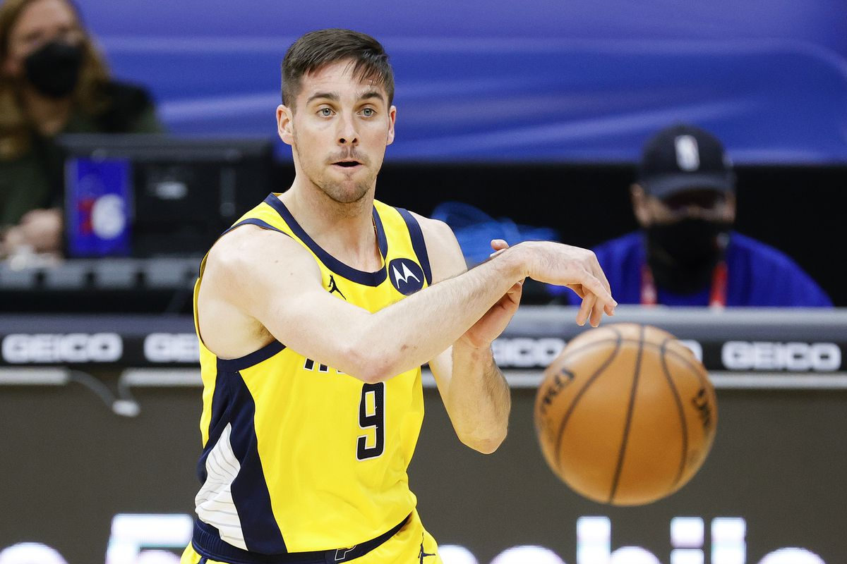 T.J. McConnell of the Indiana Pacers passes during the second quarter against the Philadelphia 76ers at Wells Fargo Center on March 01, 2021 in Philadelphia, Pennsylvania.