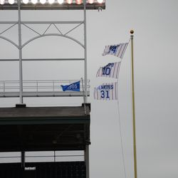 4:43 p.m. Flags still blowing straight in, in left field. Flags were blowing in, in all fields, all day -