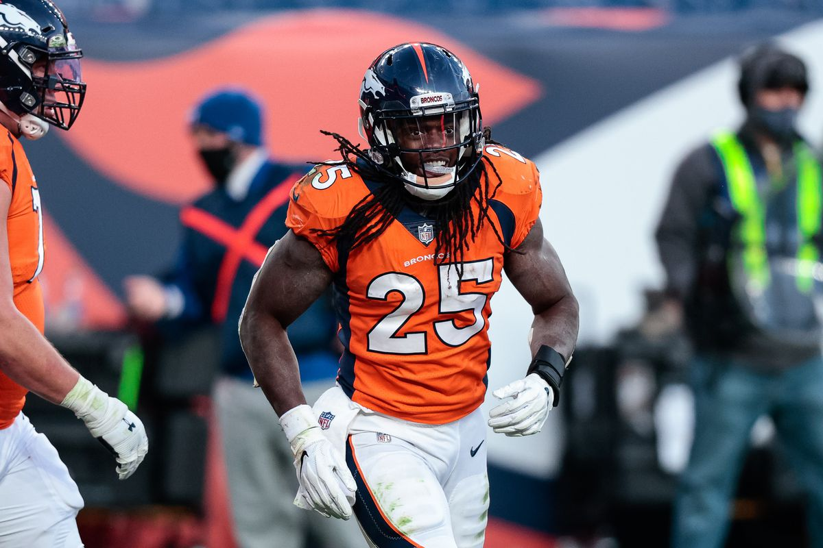 Denver Broncos running back Melvin Gordon III (25) after his touchdown in the third quarter against the Miami Dolphins at Empower Field at Mile High.