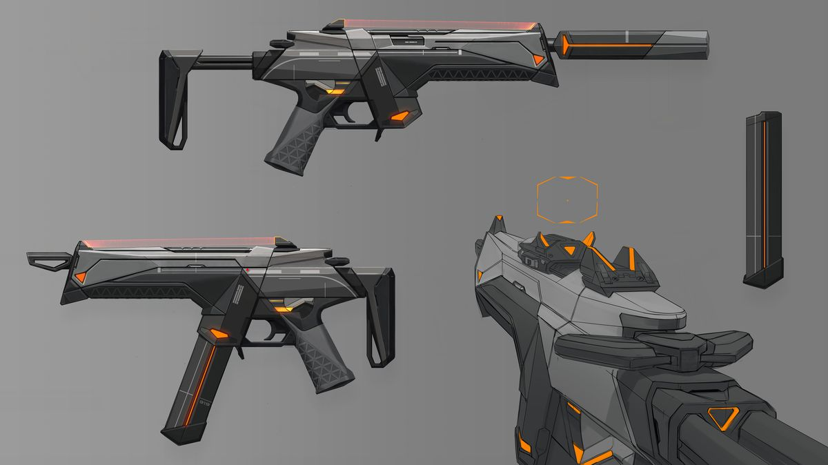 Concept art of a gun from Riot's Valorant shooter