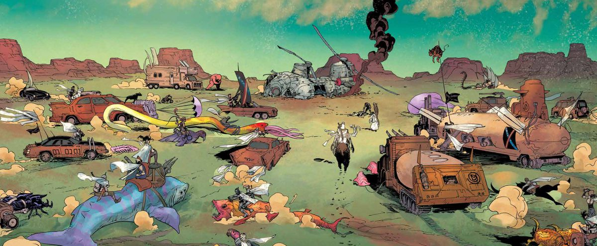 The army of the Destiny Man, riding junked out cars and land sharks, converges on a downed helicopter in Undiscovered Country #1, Image Comics (2019).