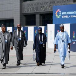 A group of African representatives arrive at the World Humanitarian Summit, in Istanbul, Monday, May 23, 2016. World leaders and representatives of humanitarian organisations from across the globe converge in Istanbul on May 23-24, 2016 for the first World Humanitarian Summit, focused on how to reform a system many judge broken. (Pool Photo via AP)