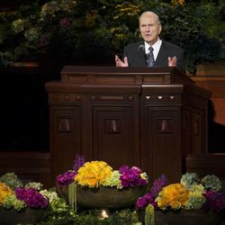 Elder Russell M. Nelson of the Quorum of the Twelve Apostles speaks during the afternoon session Saturday, April 6, 2013 of the 183th Annual General Conference of The Church of Jesus Christ of Latter-day Saints in the Conference Center.