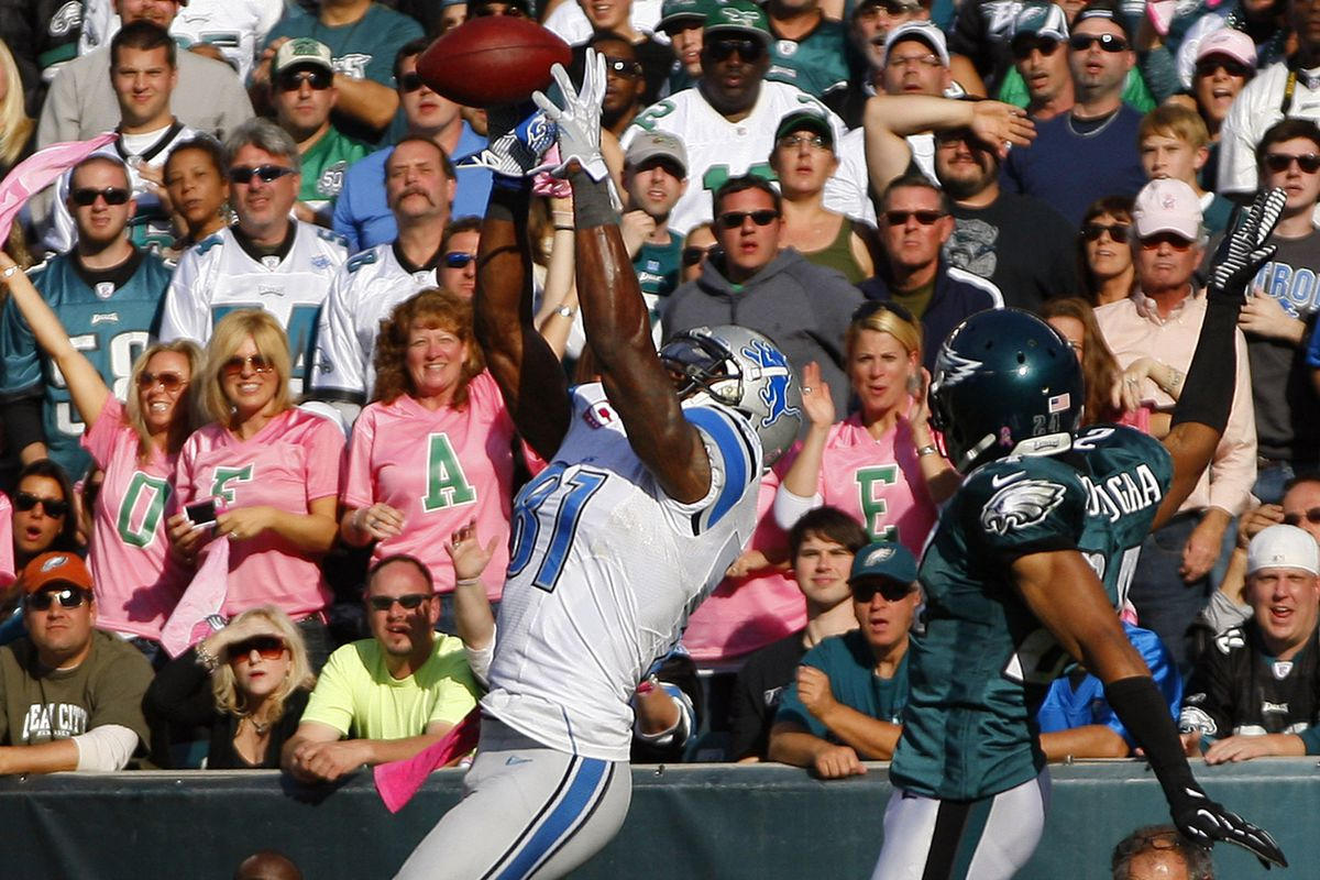 Johnson caught this touchdown against the Eagles that was negated by a pass interference call.