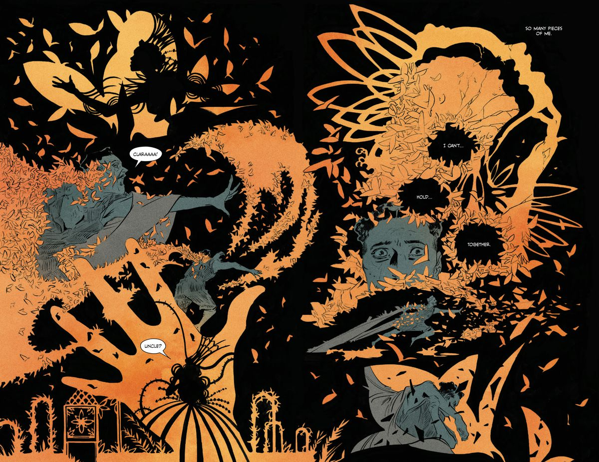 The Conjure man dreams of his missing neice, who is made of butterfly wings, swarming and flowing, orange and black, in Pretty Deadly: The Rat #3, Image Comics (2019).