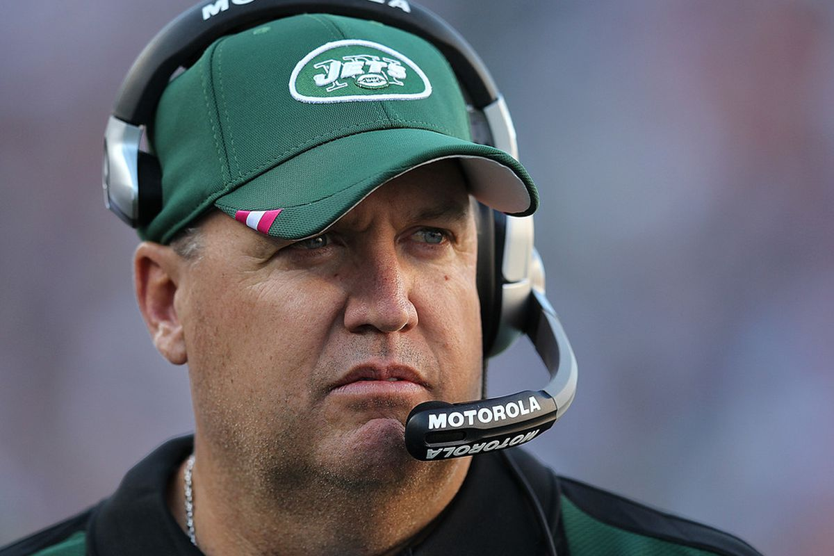 Rex Ryan of the New York Jets paces the sidelines moments before the start of a game with the New England Patriots at Gillette Stadium on October 9, 2011 in Foxboro, Massachusetts. (Photo by Jim Rogash/Getty Images)