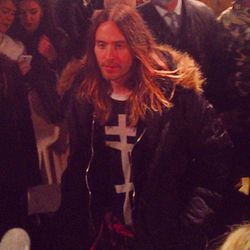 """""""If Jared Leto walked past you about a second before Jeremy Scott's show started and said """"my apologies"""" for making everyone wait, would you forgive him?"""" - <a href=""""http://instagram.com/p/kU-Uilvjg8/""""target=""""_blank"""">@elleusa</a>"""