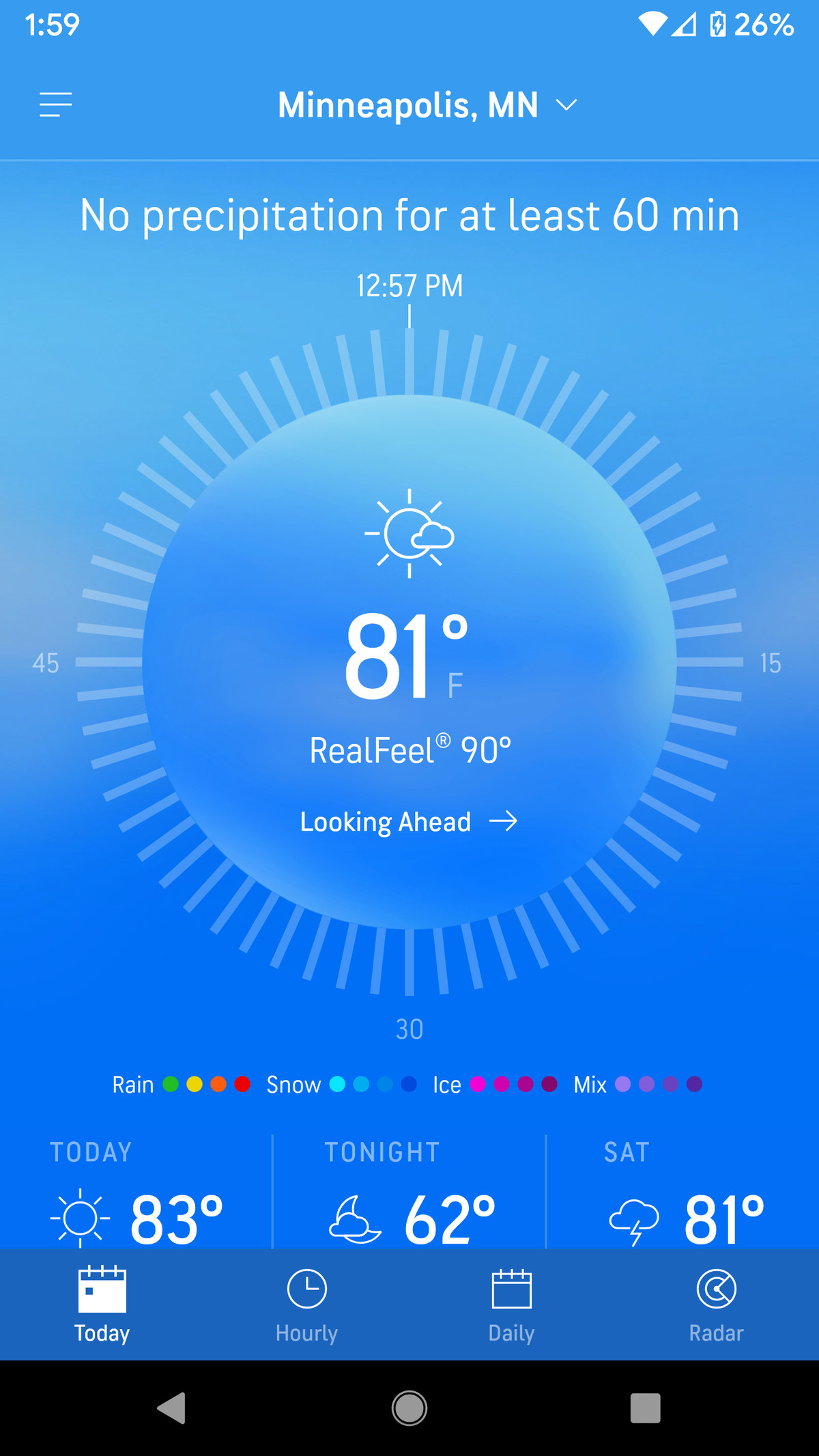 AccuWeather's recently redesigned interface is attractive and informative.