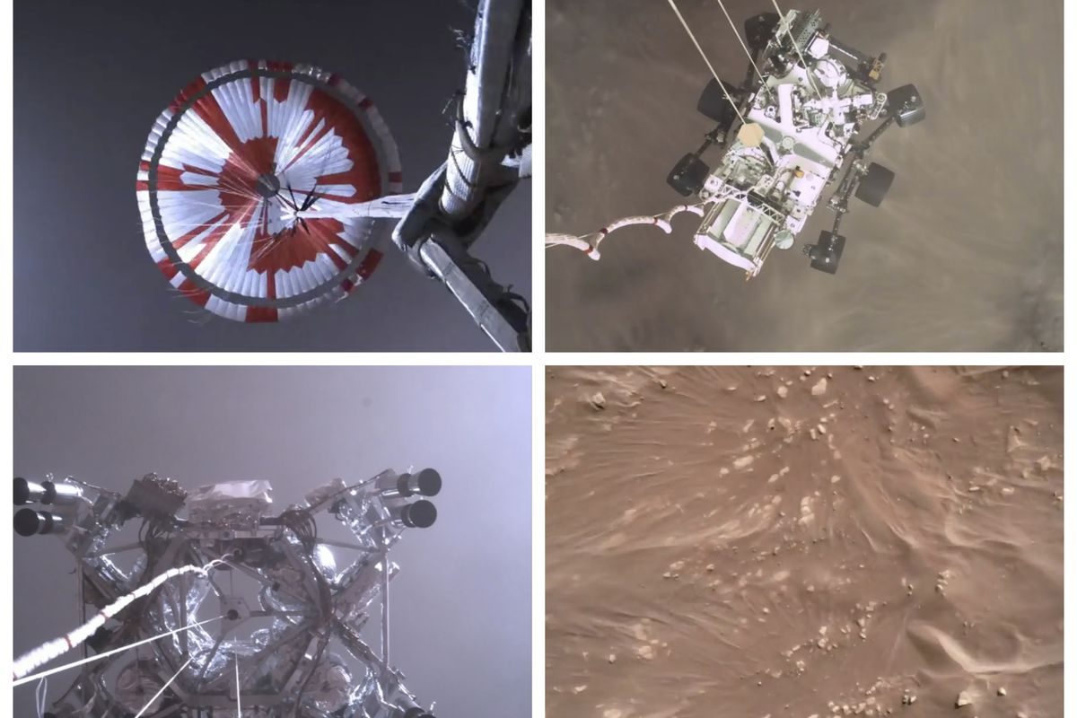 This combination of images from video made available by NASA shows steps in the descent of the Mars Perseverance rover as it approaches the surface of the planet on Thursday, Feb. 18, 2021.