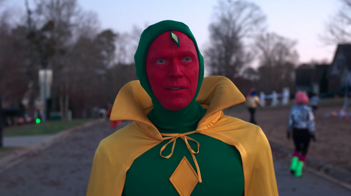 Vision in his old costume on Halloween in WandaVision