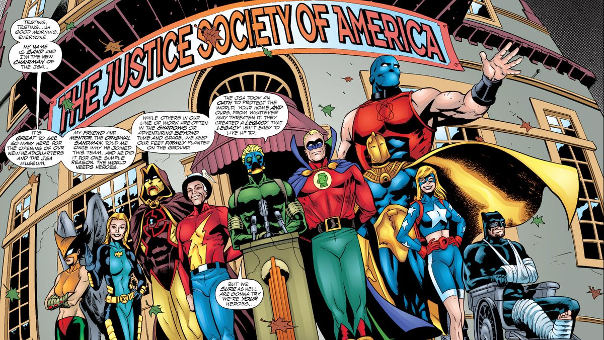 Members of the Justice Society at a press conference in JSA #6, DC Comics (2000).