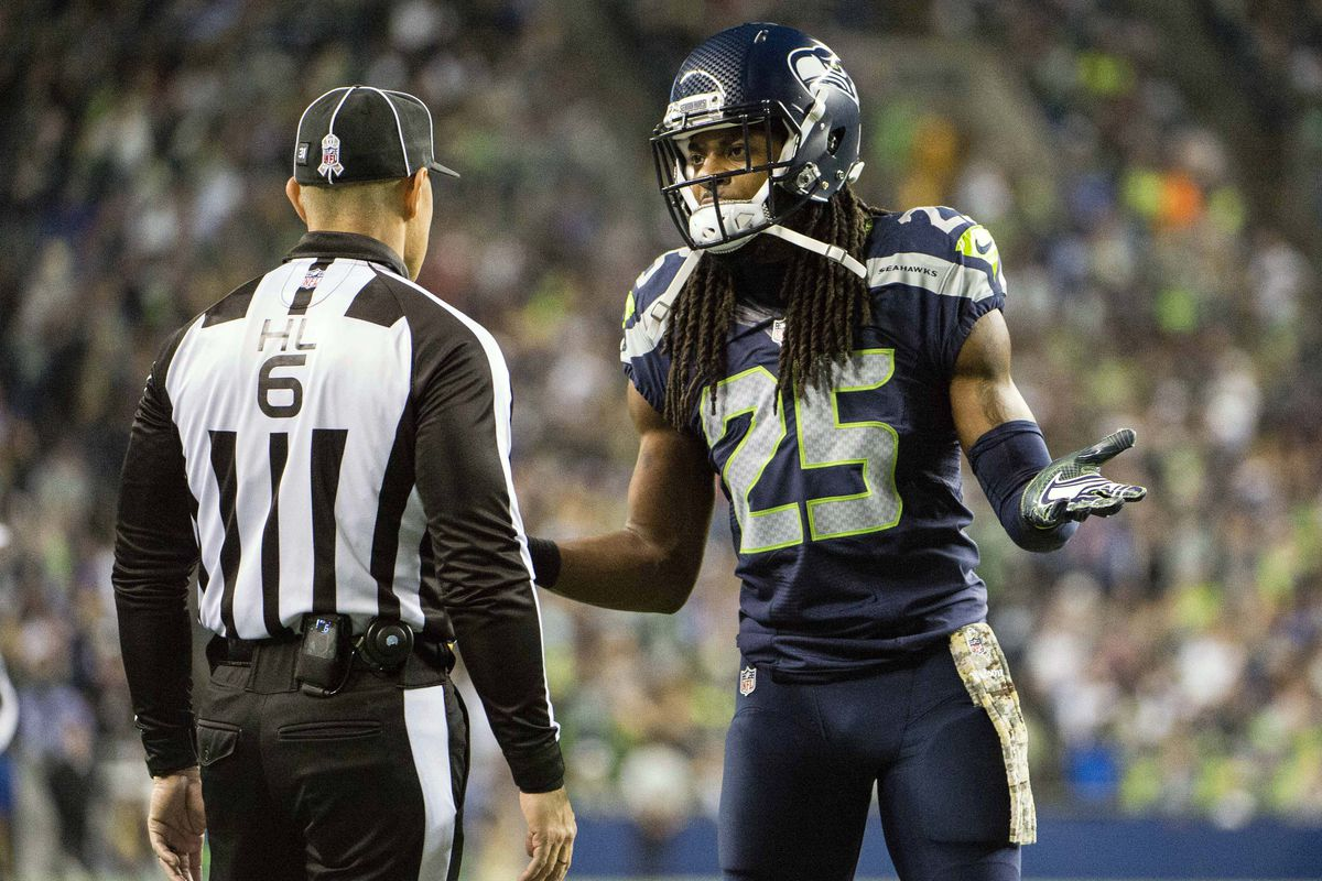 Richard Sherman Fined For His Offside Hit On Bills Kicker Dan Carpenter Sbnation Com