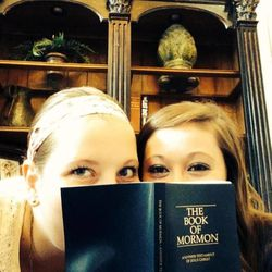 """Sister Sadie Johnson, left, of Cedar Hills, Utah, and Sister Sarah Anderson of Paul, Idaho, pose for the LDS missionary Facebook event, """"Share the Book"""" in 2014. Johnson and Anderson were companions in the Florida Jacksonville Mission and posted this photo on their missionary Facebook pages. The event led people to contact them about their beliefs."""