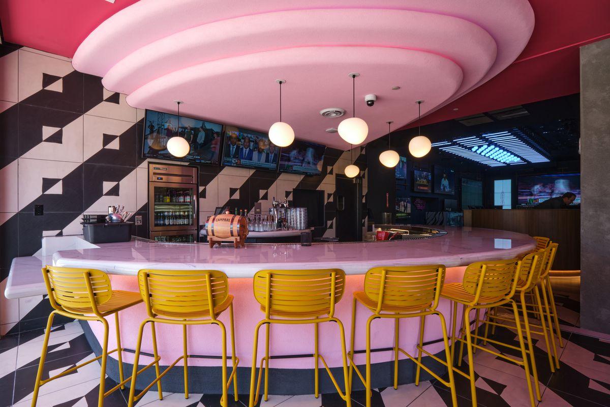 A pink bar