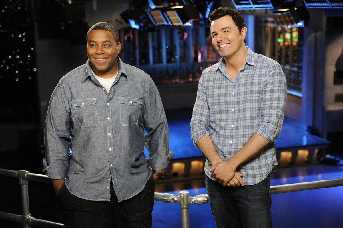 """This Sept. 11, 2012 photo provided by NBC shows Kenan Thompson, left, and host Seth MacFarlane on the set of """"Saturday Night Live"""" in New York. MacFarlane is hosting SNL's season premiere on Saturday, Sept. 15, with musical guest Frank Ocean."""