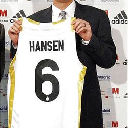 Orem native Travis Hansen holds up his Real Madrid jersey in 2009. The former BYU star recently signed with a team in Moscow.
