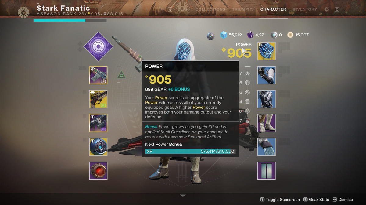 Destiny 2 Artifact bonus power