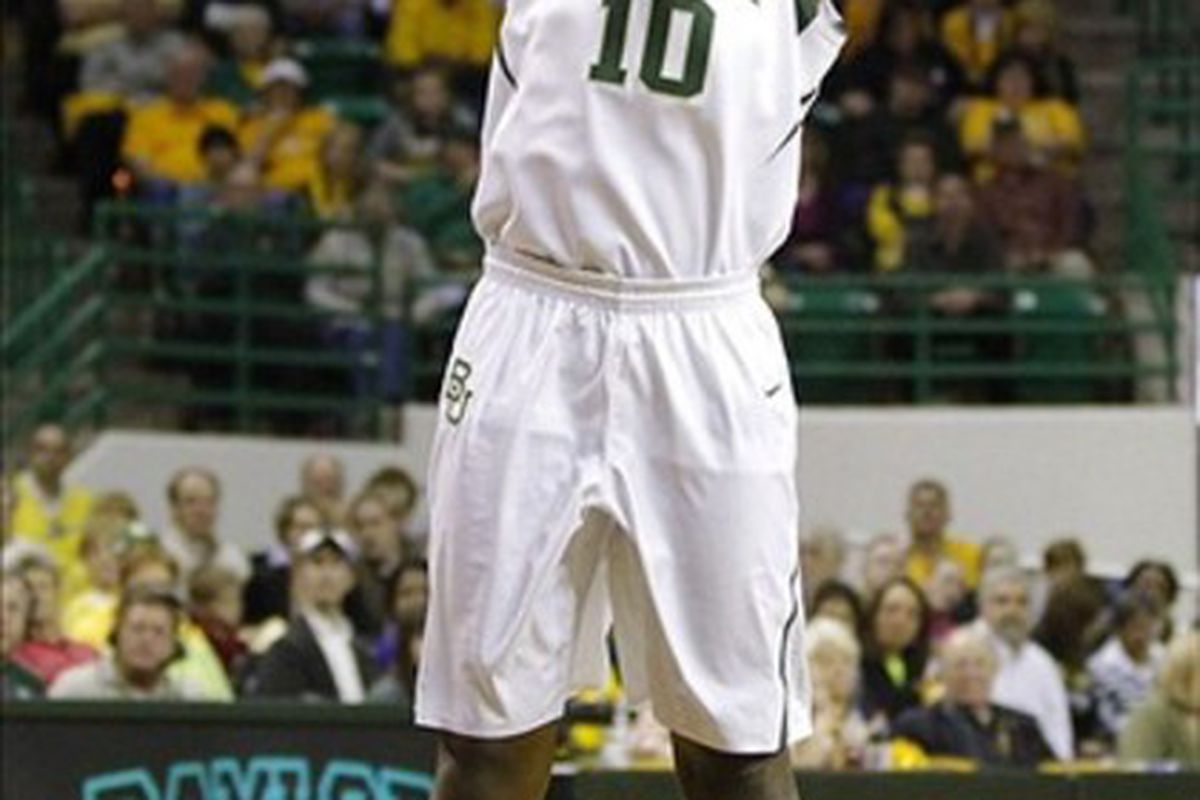February 21, 2012;  Waco, TX, USA; Baylor Bears forward/center Destiny Williams (10) shoots against the Texas Longhorns during the first half at the Ferrell Center. Mandatory Credit: Jim Cowsert-US PRESSWIRE