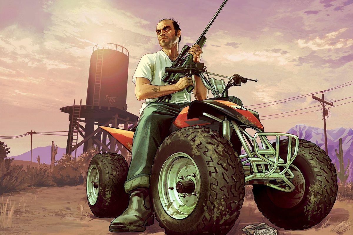 artwork of GTA 5's Trevor sitting on an ATV while holding a gun