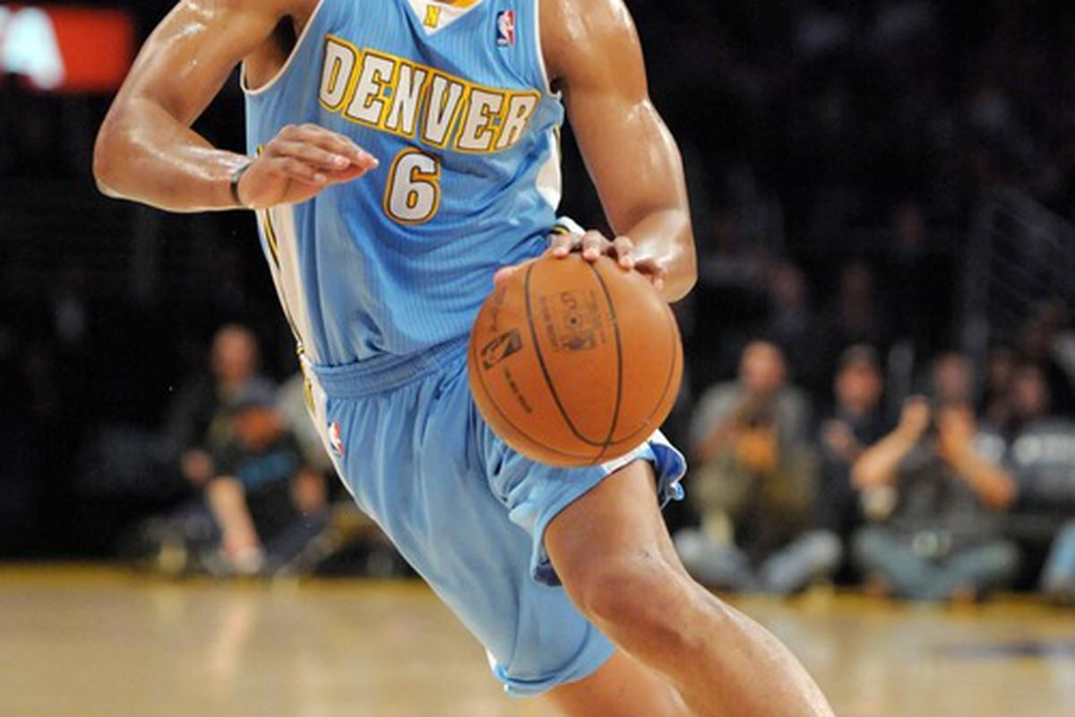 Apr 13, 2012; Los Angeles, CA, USA; Denver Nuggets guard Arron Afflalo (6) dribbles the ball against the Los Angeles Lakers at the Staples Center. The Lakers defeated the Nuggets 103-97. Mandatory Credit: Kirby Lee/Image of Sport-US PRESSWIRE