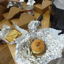 """The """"Death by Burger"""" burger from Marble Lane, plus an excellent patty melt made with Kobe beef.  Really good."""