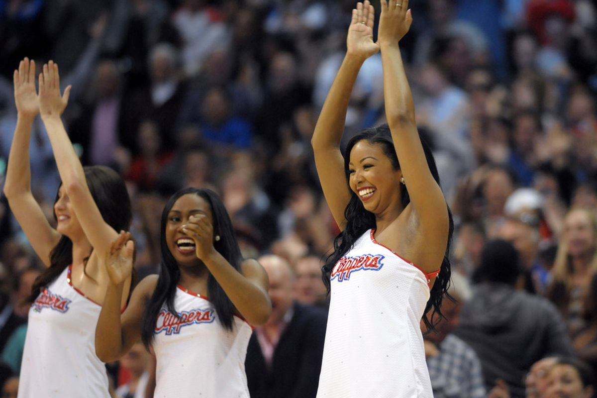 Apr 16, 2012; Los Angeles, CA, USA; Los Angeles Clippers spirit cheerleaders react during the game against the Oklahoma City Thunder at the Staples Center. Mandatory Credit: Kirby Lee/Image of Sport-US PRESSWIRE