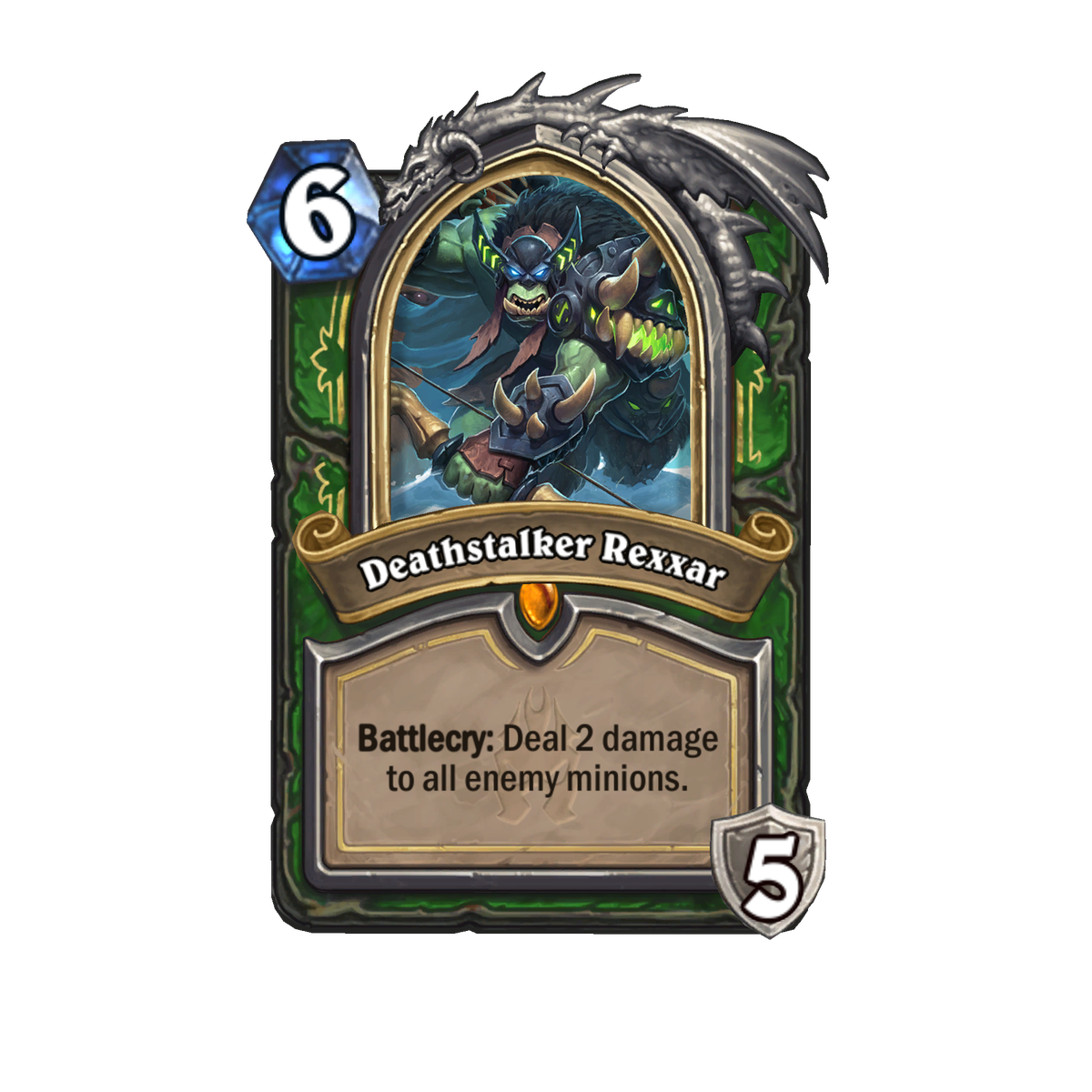 This Hearthstone card is titled Deathstalker Rexxar. It is a six-mana cost hero card that provides five armor and with a battlecry of dealing two damage to all enemy minions.