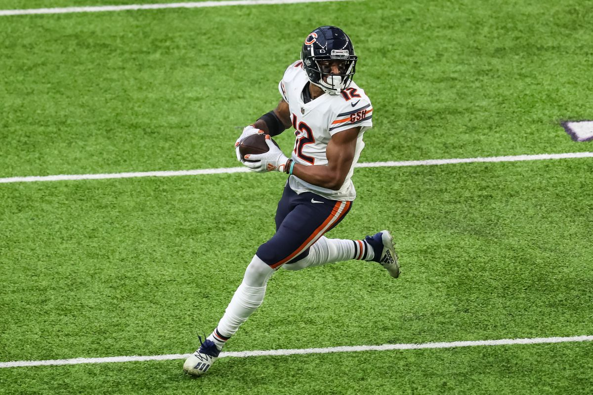Chicago Bears wide receiver Allen Robinson (12) runs with the ball during the fourth quarter against the Minnesota Vikings at U.S. Bank Stadium.