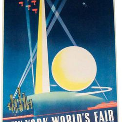"World's Fair poster via <a href=""http://www.modernism.com/1939+worlds+fair+poster+-+binder/"">Modernism Gallery</a>."