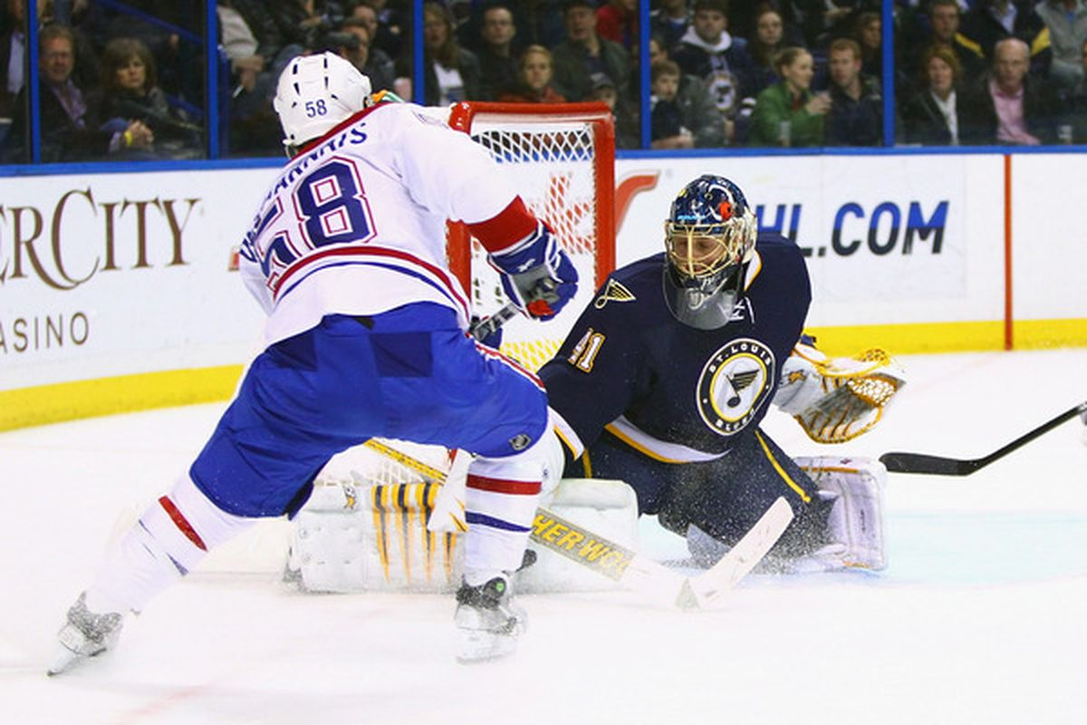 ST. LOUIS, MO - MARCH 10: Jaroslav Halak #41 of the St. Louis Blues makes a save against the Montreal Canadiens at the Scottrade Center on March 10, 2011 in St. Louis, Missouri.  (Photo by Dilip Vishwanat/Getty Images)
