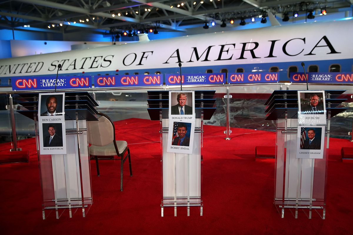 Candidate photos are displayed on podiums before the start of the CNN Republican presidential debate at the Ronald Reagan Presidential Foundation and Library on September 16, 2015, in Simi Valley, California.