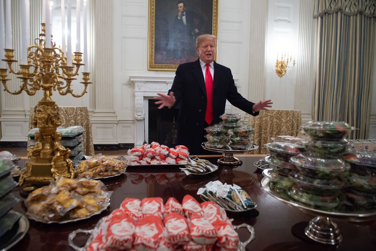 Image result for trump hamburgers white house