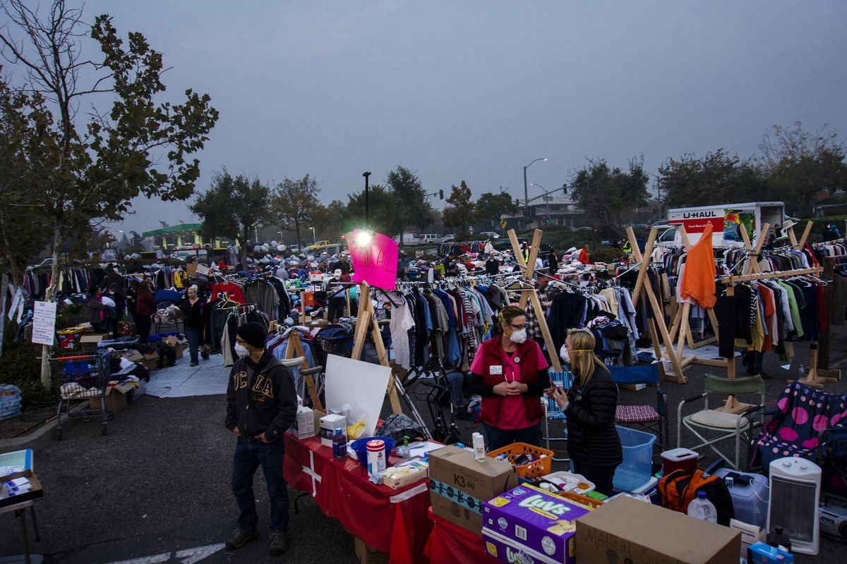 Volunteers at a makeshift campsite for Camp Fire evacuees have had to turn away donations because they were overwhelmed with supplies.
