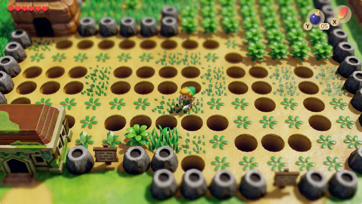 Link's Awakening Richard Pothole Field slash the plants to find a safe path through