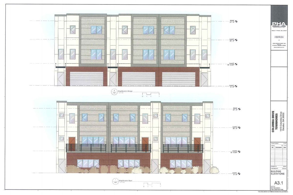 A rendering of a townhome that could be developed near Memorial Drive.