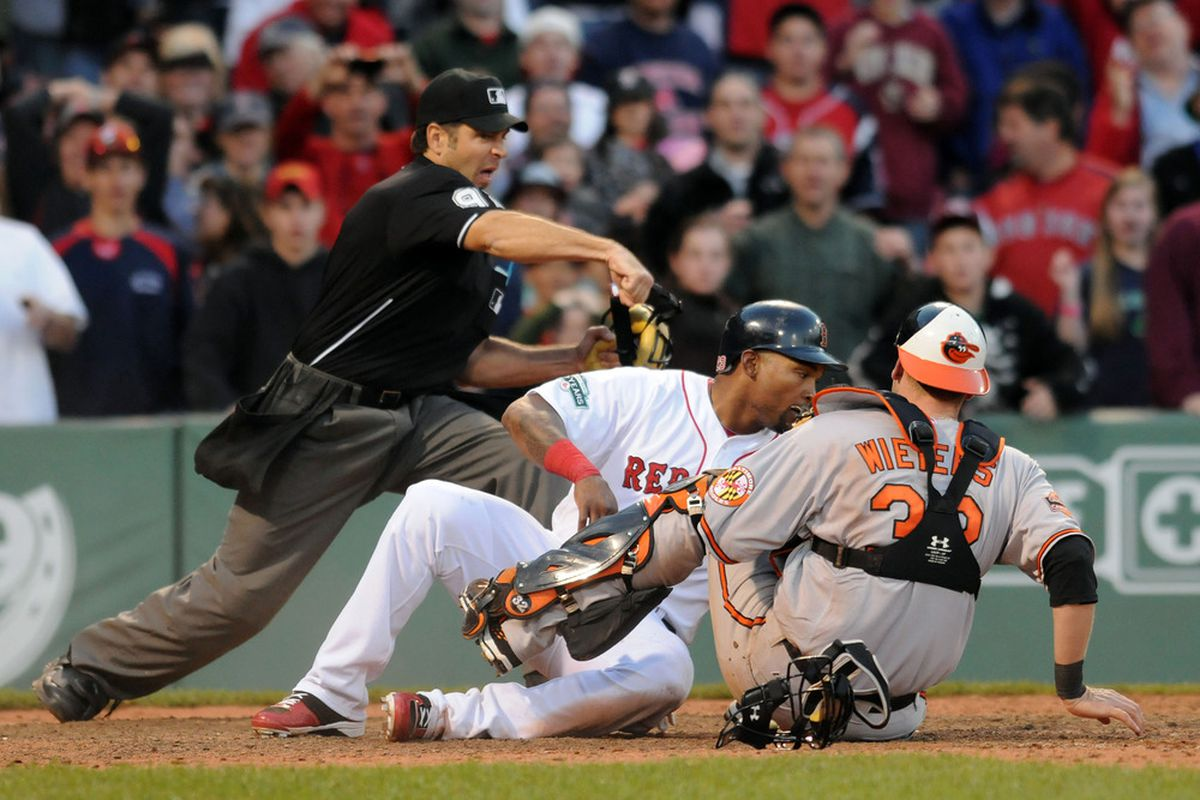 Too bad this image doesn't show Wieters' face. (Photo by Darren McCollester/Getty Images)