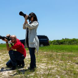 <em>Pauline and her photo partner Tom Cross getting shots of the pad</em>