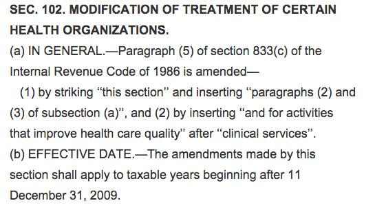 Health provision spending bill