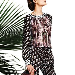 """<b>Duro Olowu for jcp</b> Mixed Print Blouse in brown/purple/bark, <a href=""""http://www.jcpenney.com/dotcom/brands/duro-olowu-for-jcp/apparel/tops/duro-olowu-for-jcp-mixed-print-blouse/prod.jump?ppId=pp5002440917&cmvc=JCP